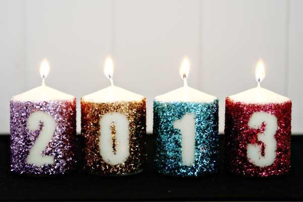 újévi dekoráció házilag - gyertya