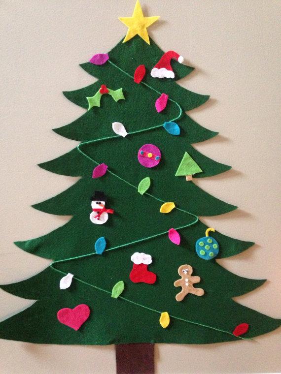 Karácsonyi dekoráció - filc karácsonyfa
