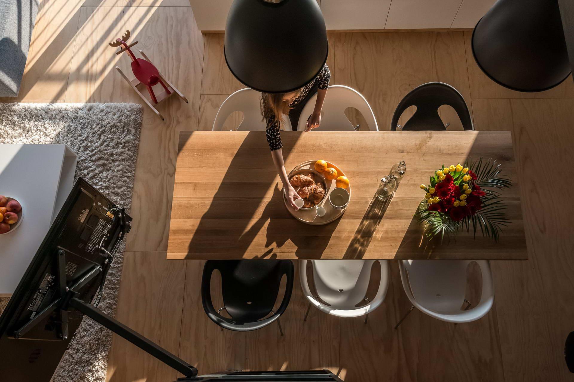 Loft lakás konyha asztal