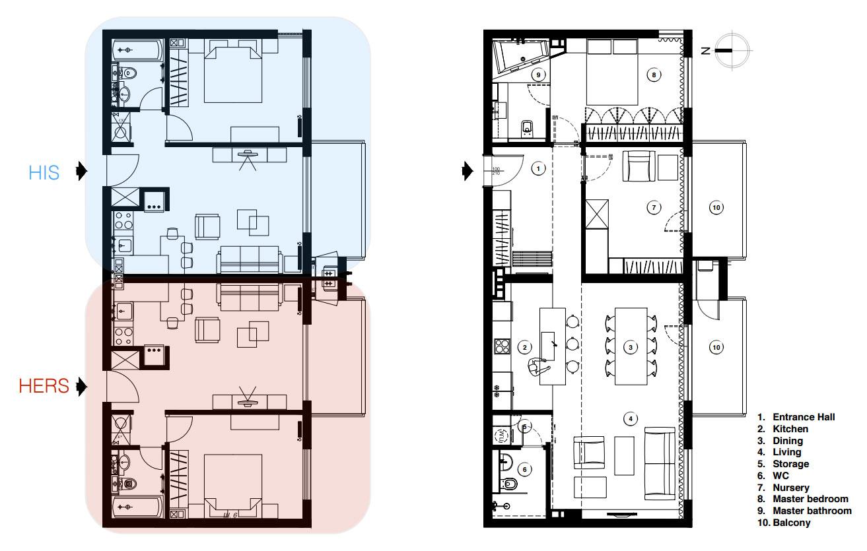 Kis lakás - Nagy lakás alaprajz
