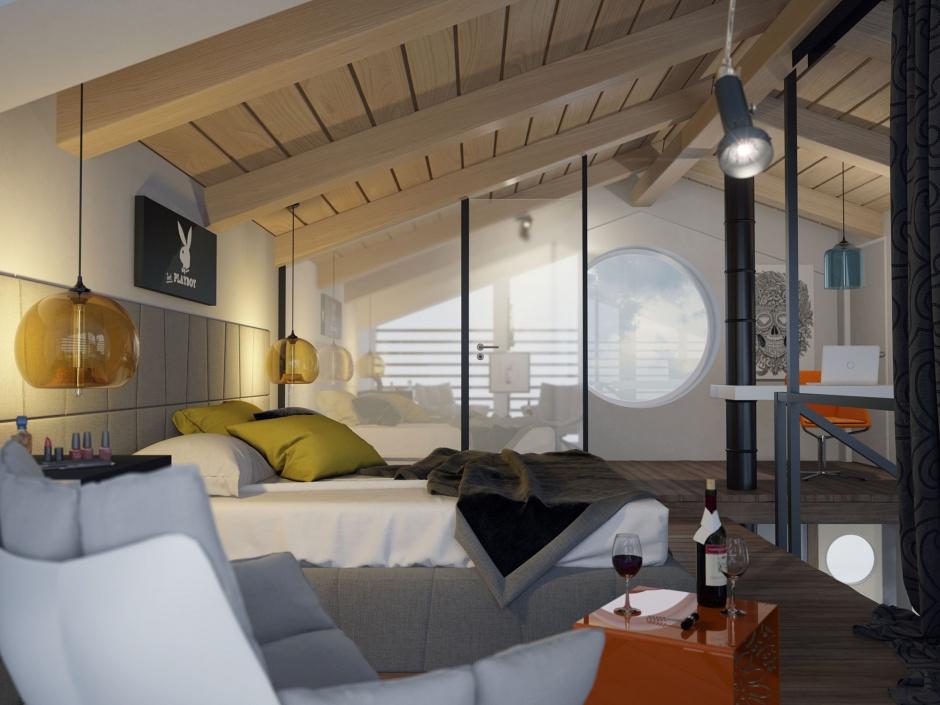 penthouse lakás hálószoba