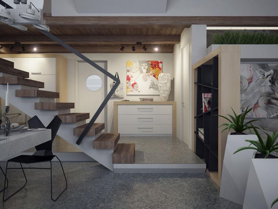 penthouse lakás közlekedő, lépcső