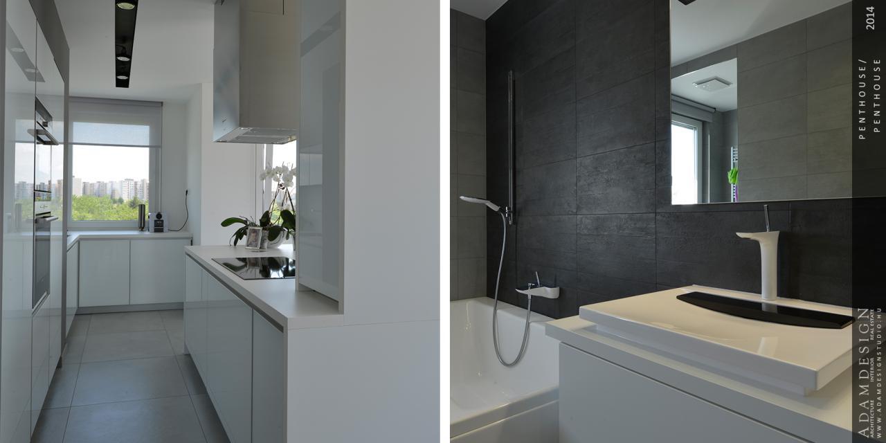 penthouse lakás konyha és fürdő