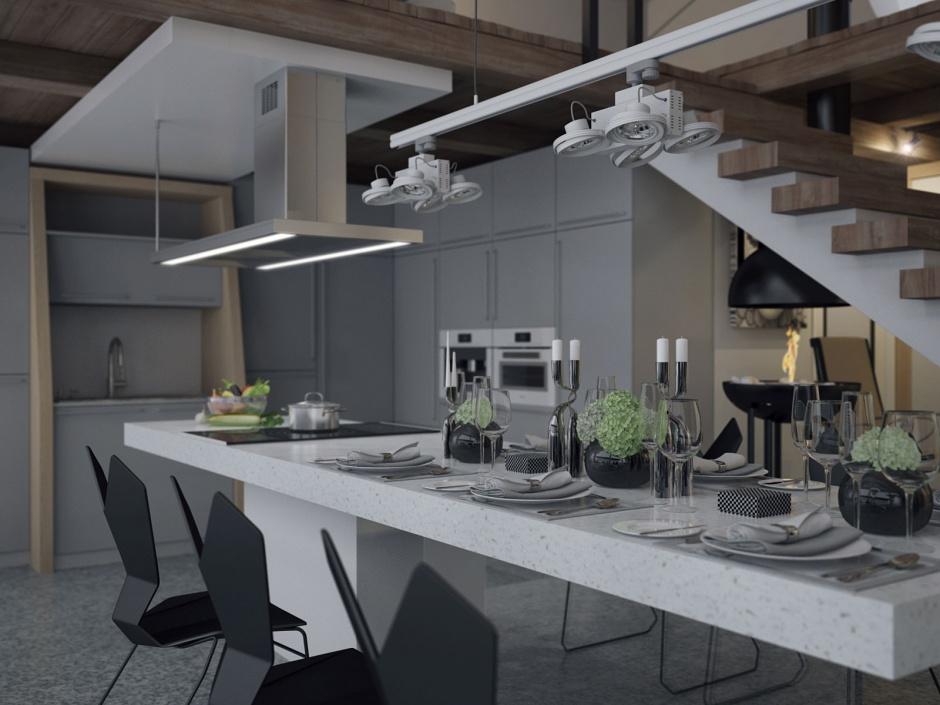 penthouse lakás konyha étkező