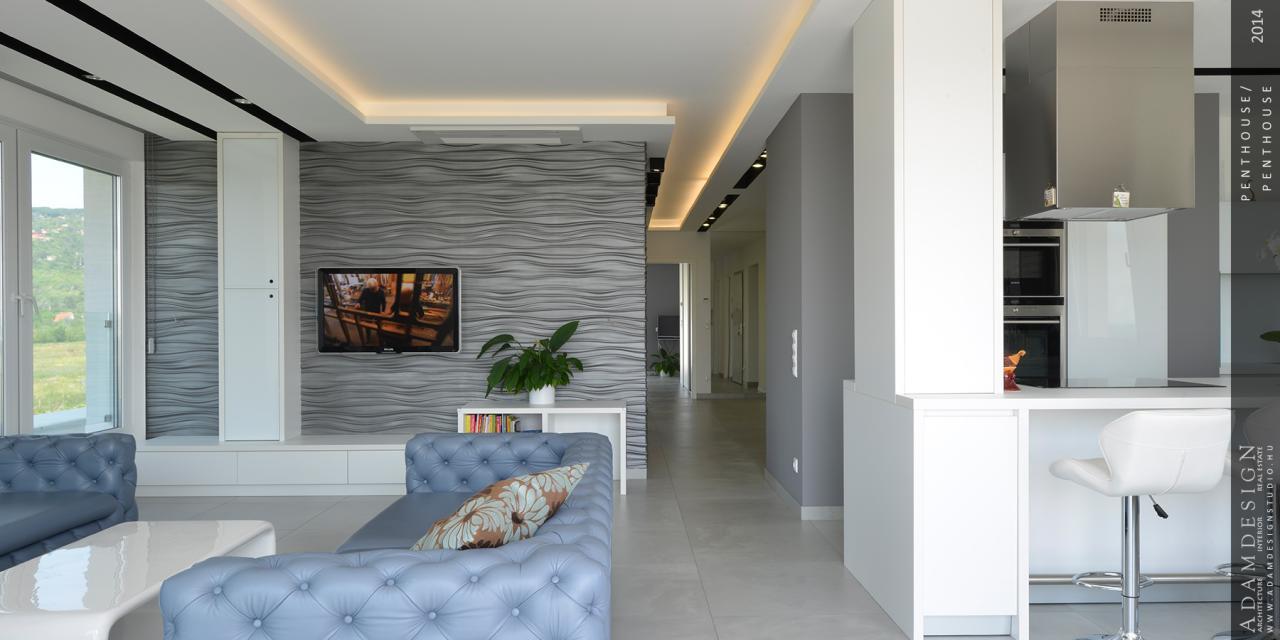 penthouse lakás nappali és konyha