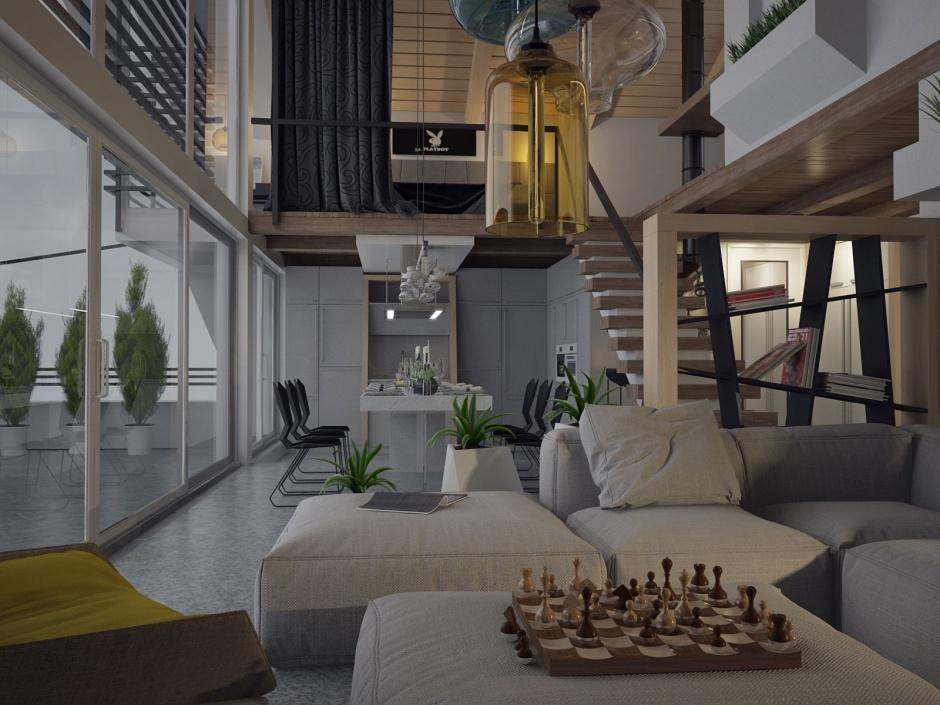 penthouse lakás nappali étkező