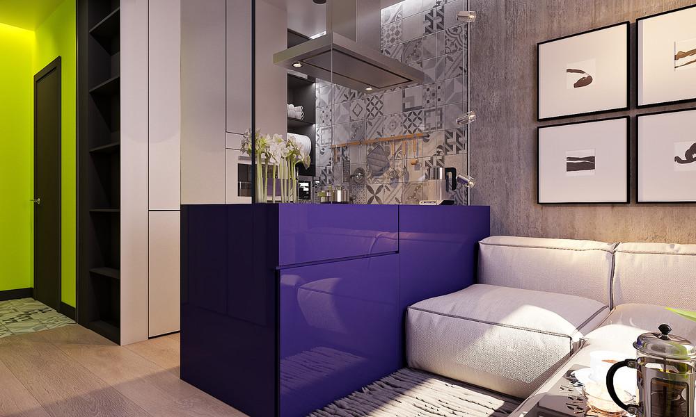 mini lakás neon színnekkel - nappali és a lila étkező és a sárga