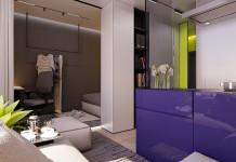 mini lakás neon színnekkel - nappali és a lila