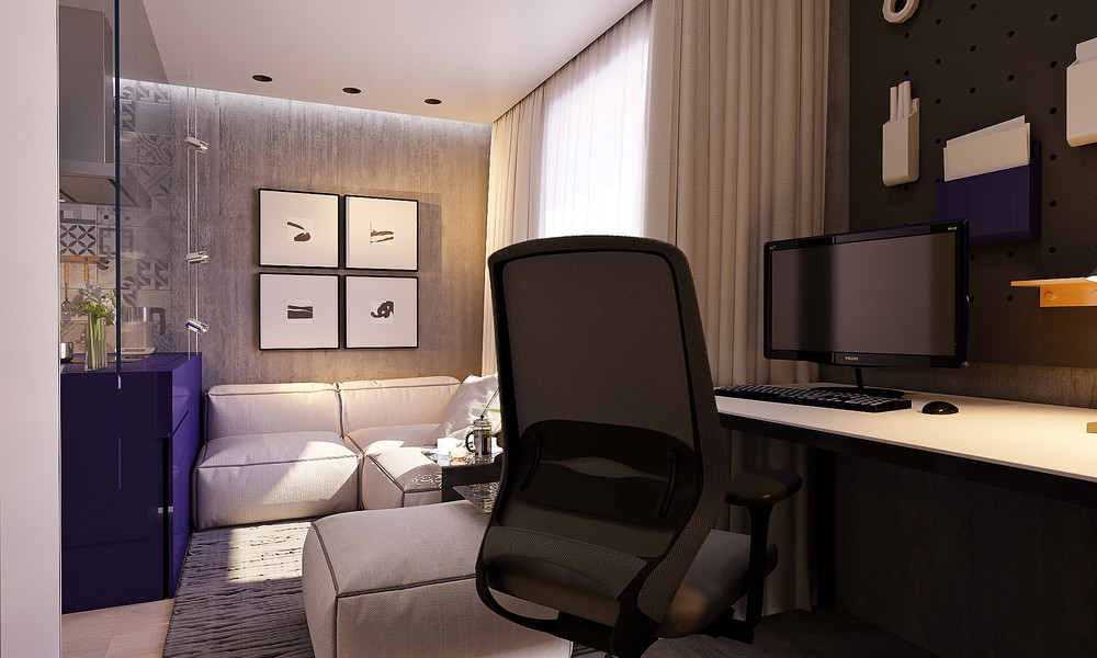 mini lakás neon színnekkel - nappali