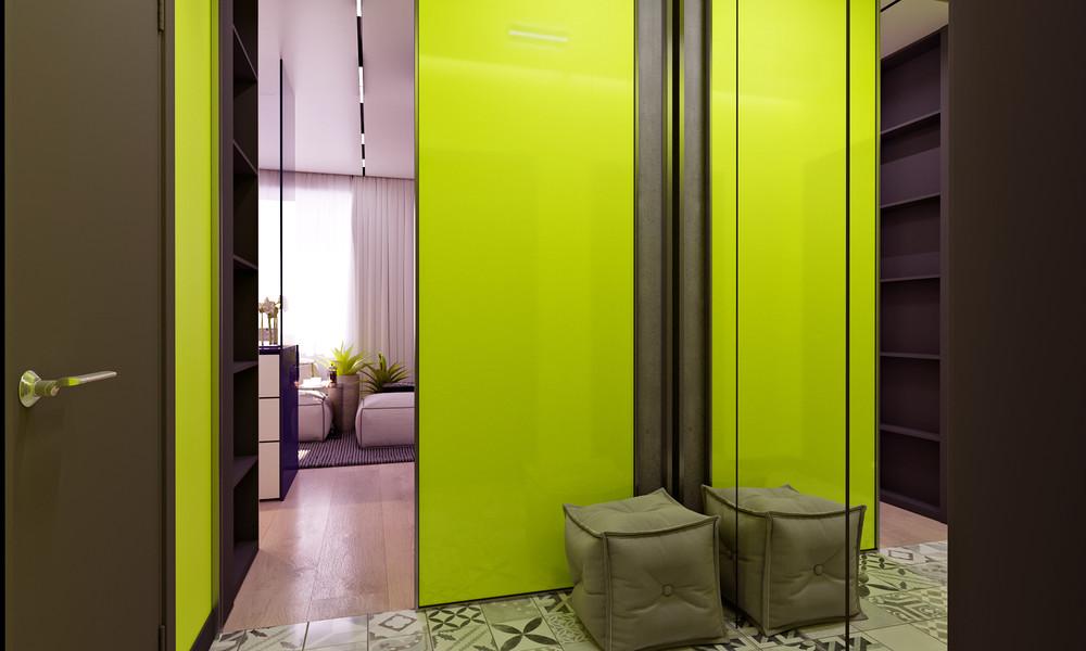 mini lakás neon színnekkel - neon sárga előszoba