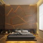 férfi hálószoba fal inspiráció rejtett világítással