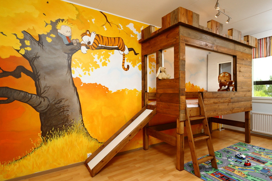 gyerekszoba bútor gyerekszoba falfestés és egyéb dekoráció, lakberendezési ötlet - falfestés és különleges ágy