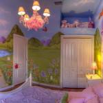 gyerekszoba bútor gyerekszoba falfestés és egyéb dekoráció, lakberendezési ötlet - hercegnős gyerekágy és falfestés