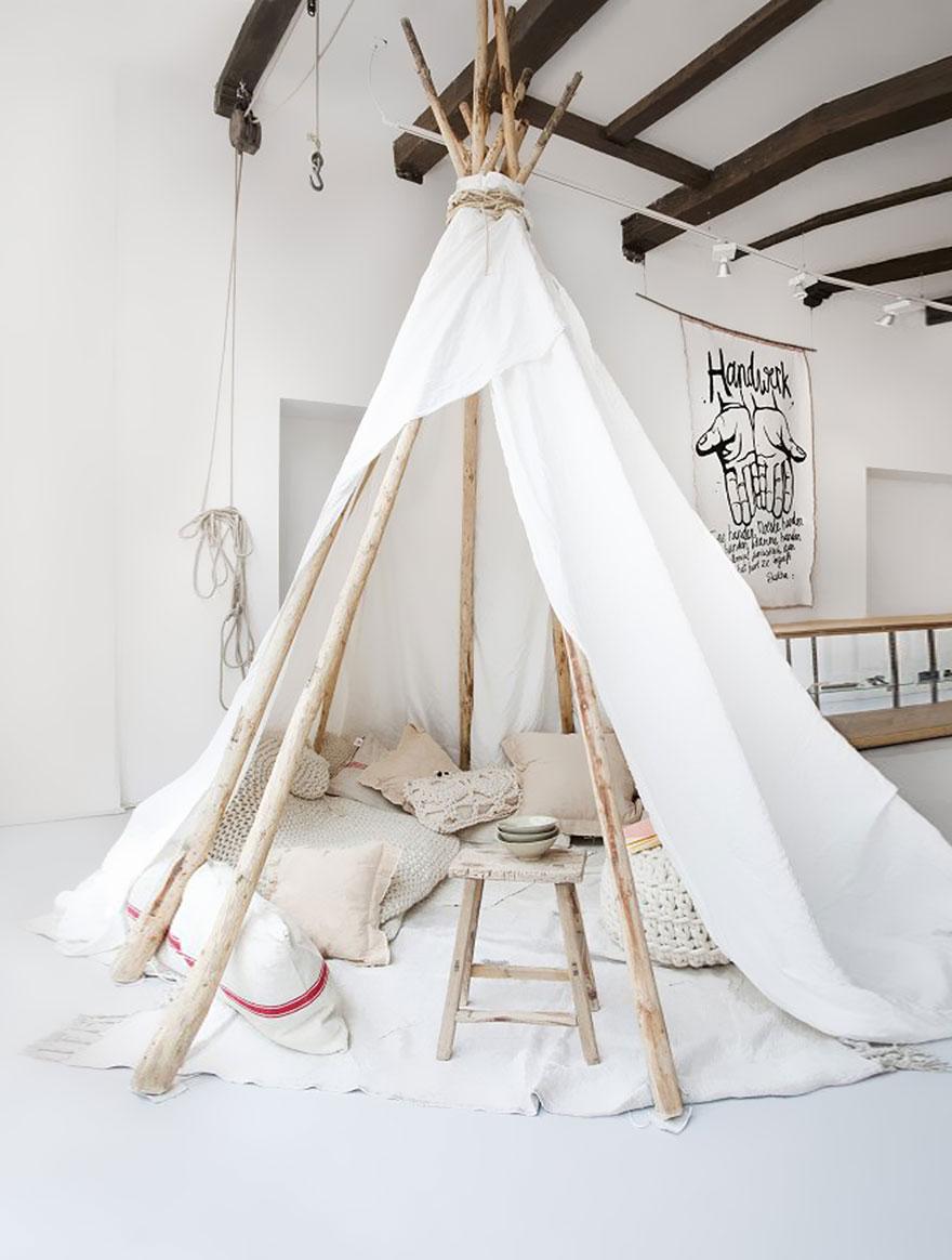 gyerekszoba bútor gyerekszoba falfestés és egyéb dekoráció, lakberendezési ötlet - indián sátor skandináv módra
