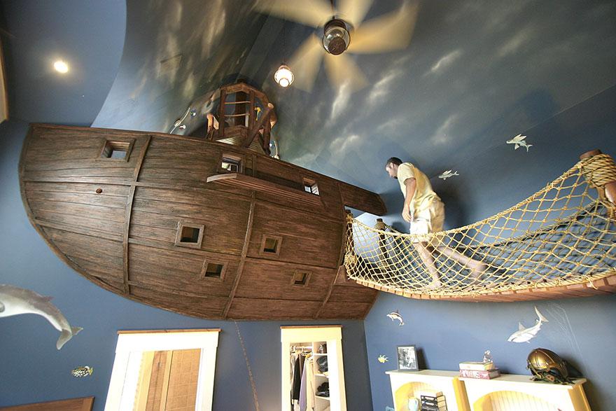 gyerekszoba bútor gyerekszoba falfestés és egyéb dekoráció, lakberendezési ötlet - kalóz szoba