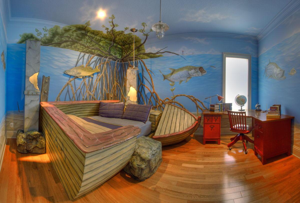 gyerekszoba bútor gyerekszoba falfestés és egyéb dekoráció, lakberendezési ötlet - tengeri gyerekszoba falfestés és csónak gyerekágy