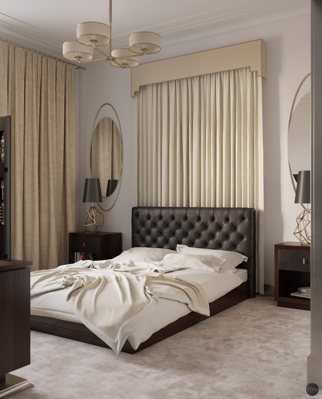 hálószoba fal függönnyel