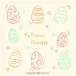 húsvéti kép kézi rajzolású tojásokkal