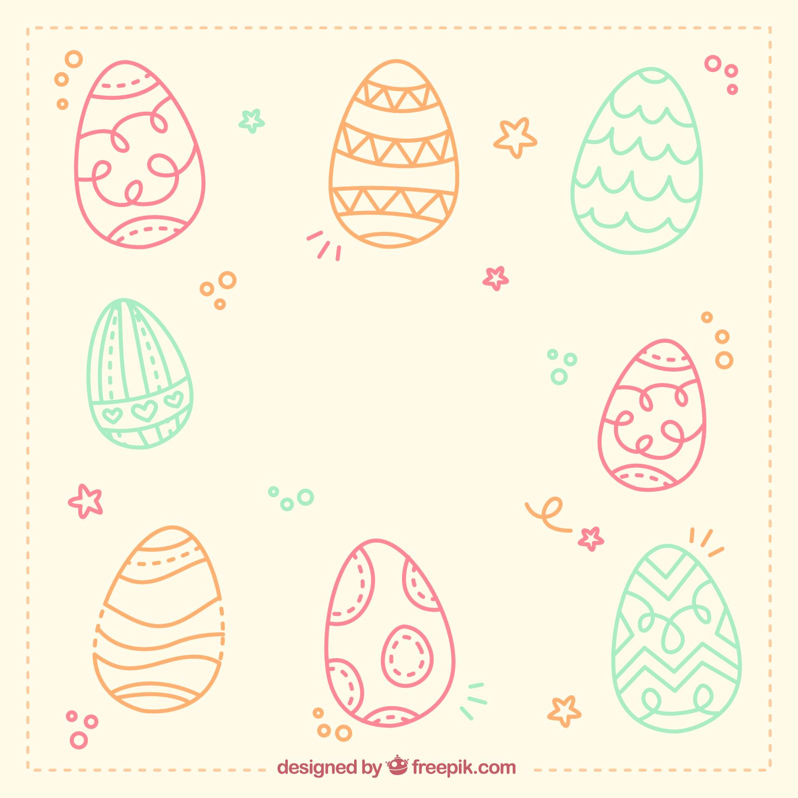 húsvéti kép kézi rajzolású tojásokkal 2