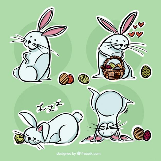 húsvéti képeslap - nyuszik