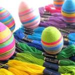 húsvéti tojás, tojásfestés - cérna szivárvány