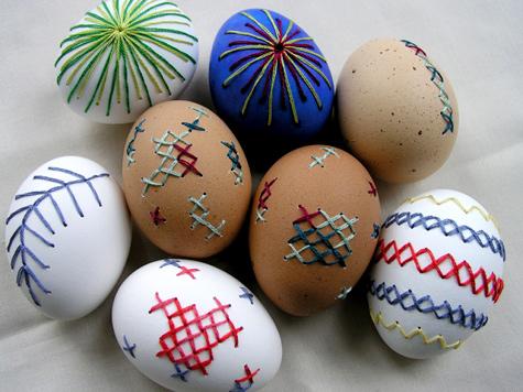 húsvéti tojás, tojásfestés - hímzett tojások 2