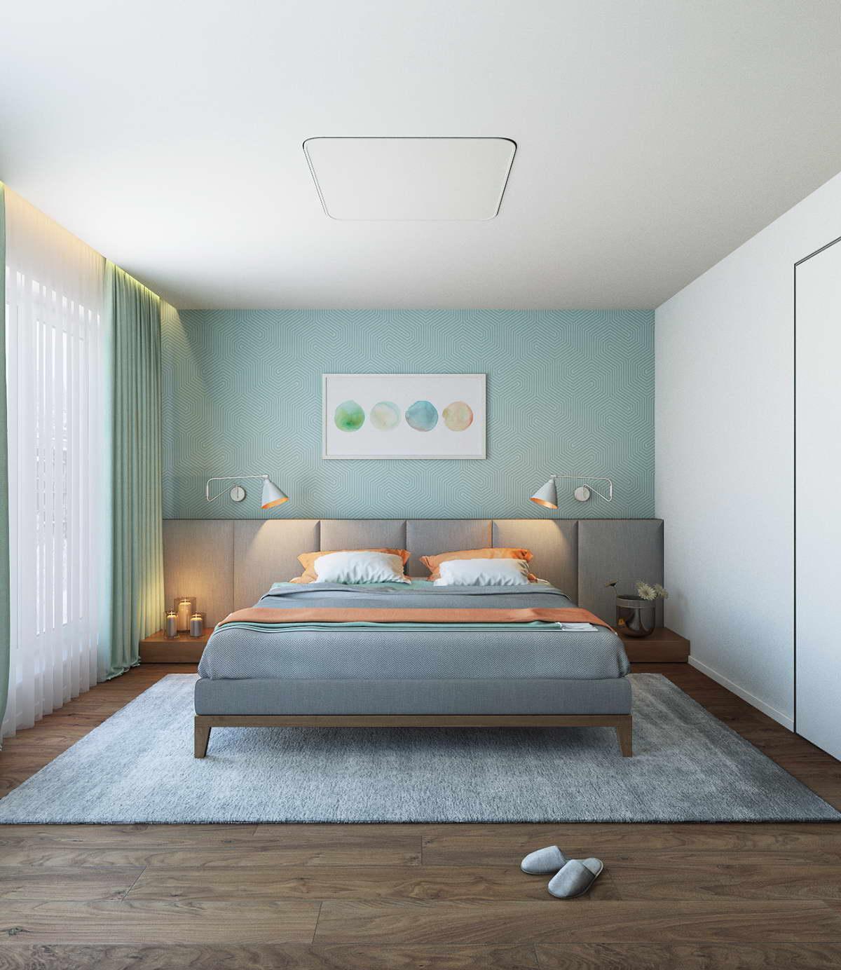 kék hálószoba fal inspiráció