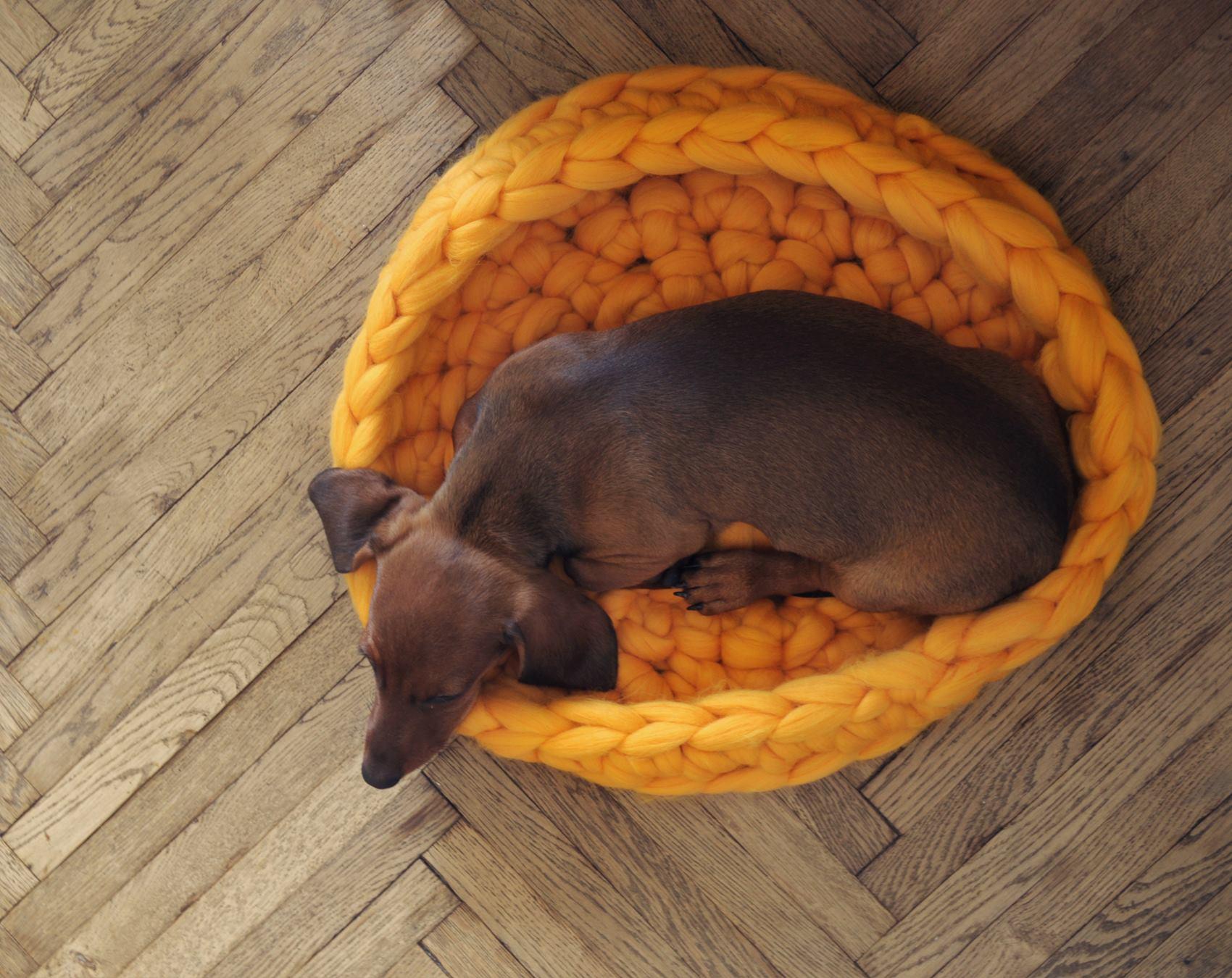 kötött takaró, kötött ágytakaró, kötött ruha óriás fonalból - kisállat ágy
