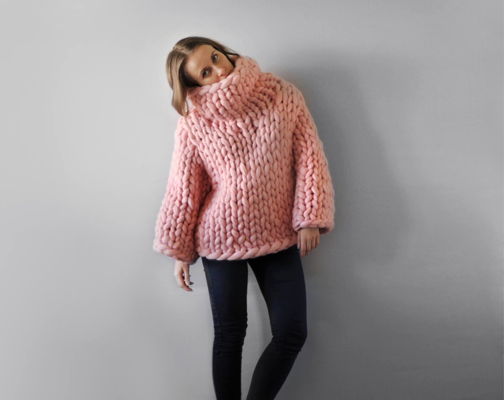 kötött takaró, kötött ágytakaró, kötött ruha óriás fonalból - pulcsi