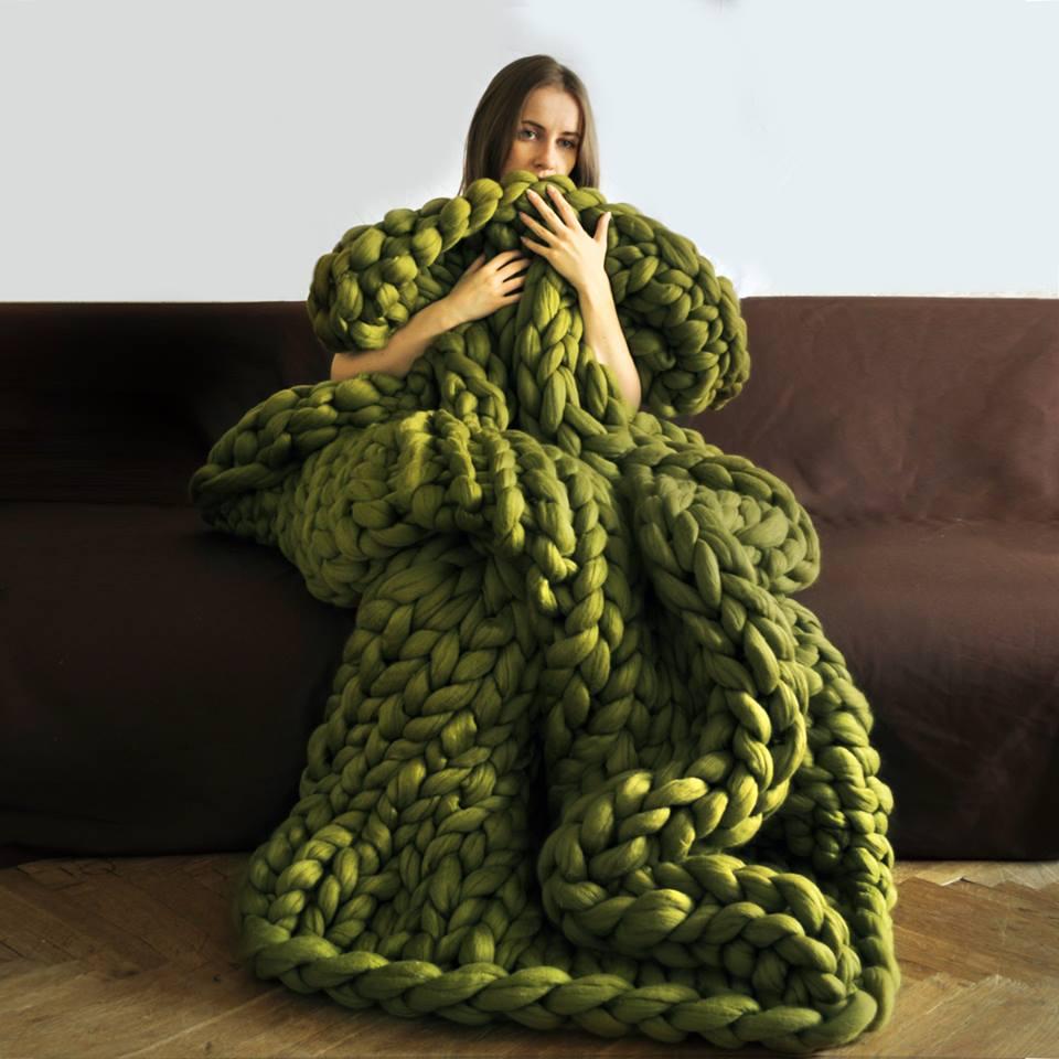kötött takaró, kötött ágytakaró, kötött ruha óriás fonalból - takaró