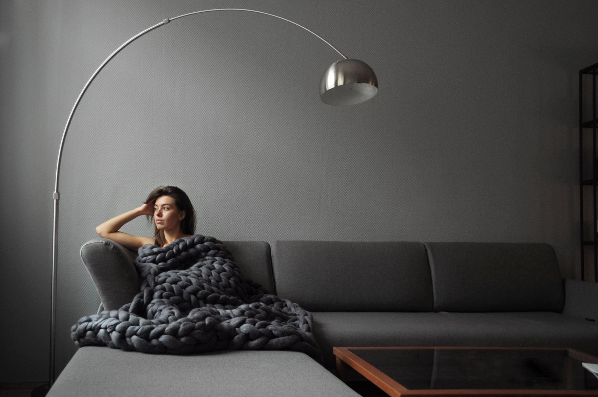 kötött takaró, kötött ágytakaró, kötött ruha óriás fonalból - takarók