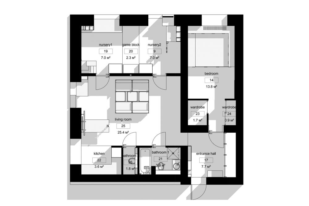 kis családi lakás moduláris bútorok - alaprajz