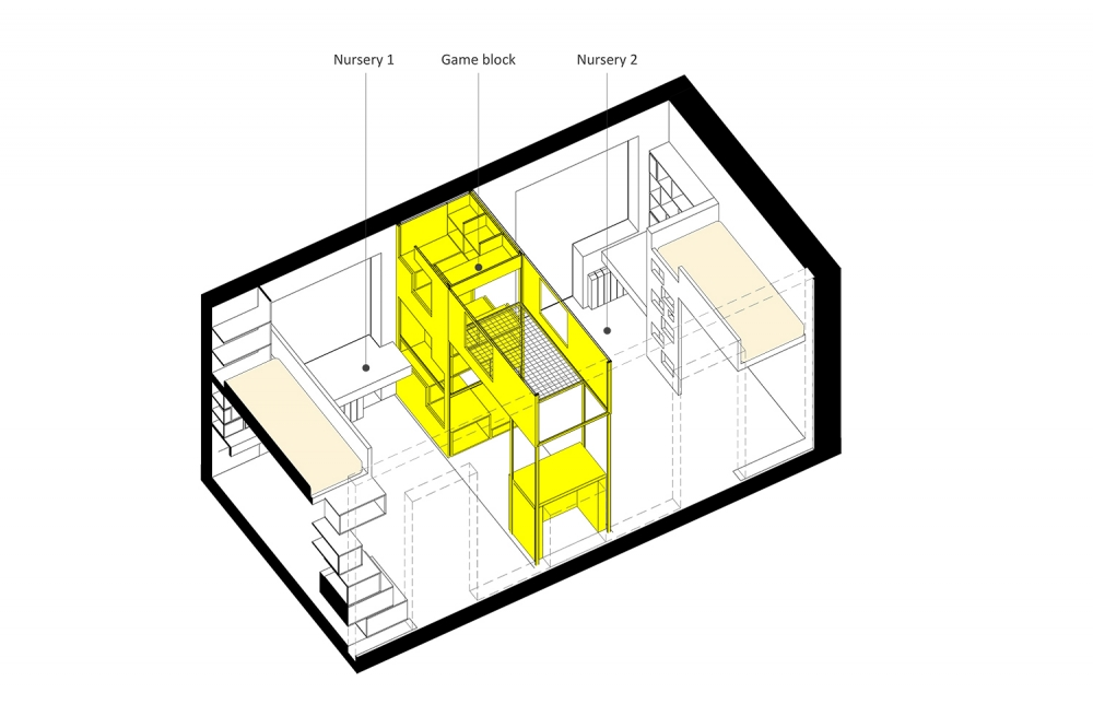 kis családi lakás moduláris bútorok - gyerekszoba alaprajz