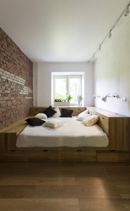 kis családi lakás moduláris bútorok - hálószoba