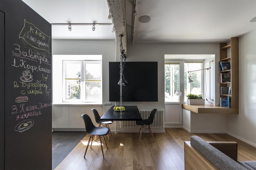 kis családi lakás moduláris bútorok - nappali