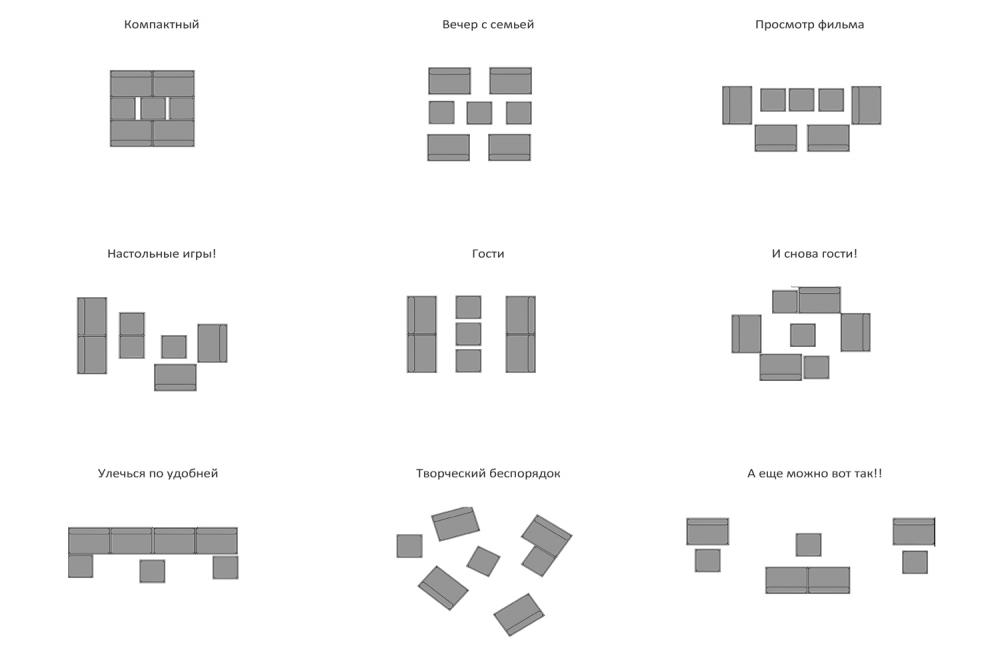 kis családi lakás moduláris bútorok - nappali moduláris bútor elrendezés alaprajz
