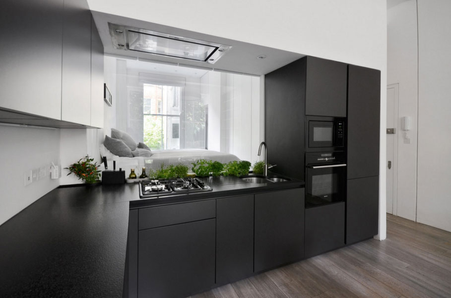 fekete modern beépített konyhabútor