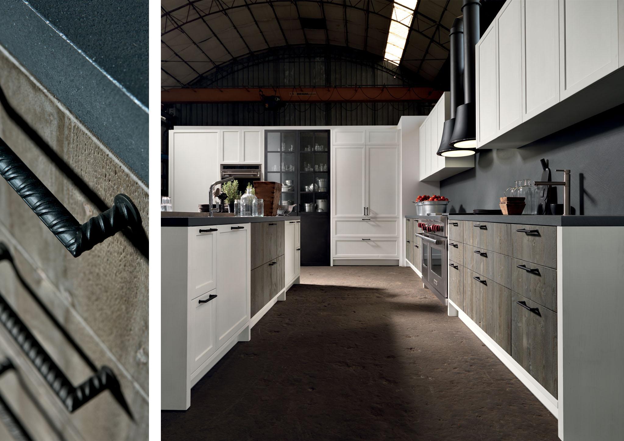Fehér korpuszos és barna frontos modern konyhabútor