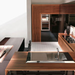 Modern lekerekített éModern minimalista barna konyhabútor