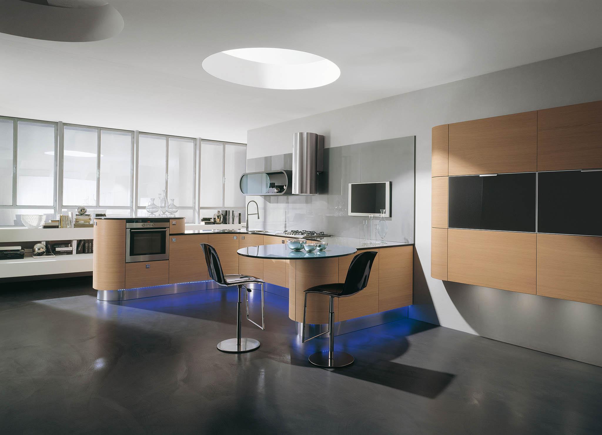 modern lekerekített különleges konyhabútor