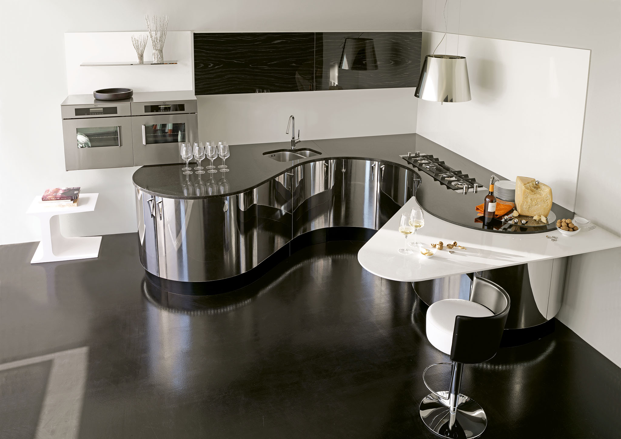 Modern design konyhabútor rozsdamentes fronttal