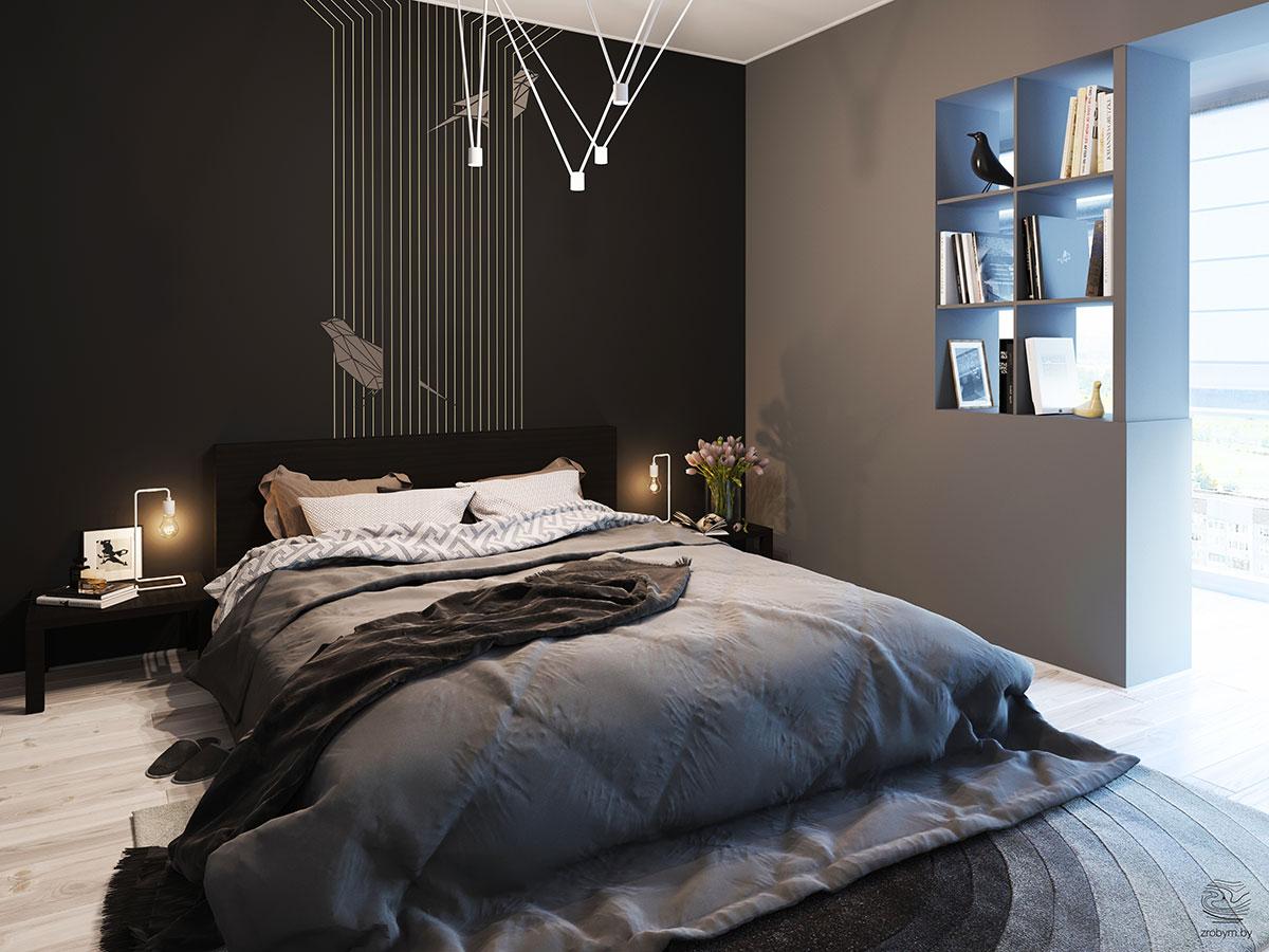 loft hálószoba fal inspiráció és ötlet - barna csíkos
