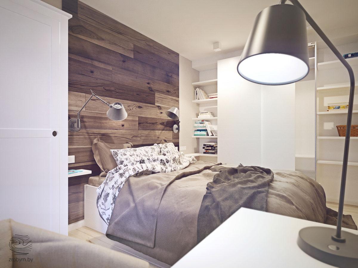 loft hálószoba fal inspiráció és ötlet - fa parkettából