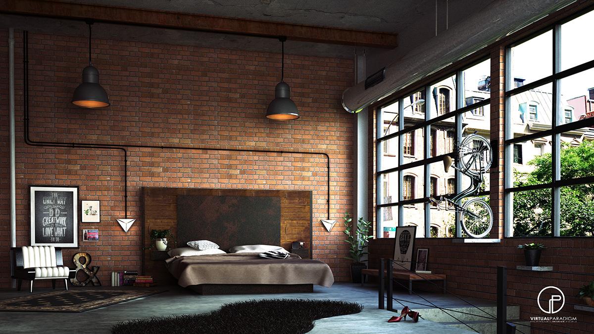 loft hálószoba fal inspiráció és ötlet