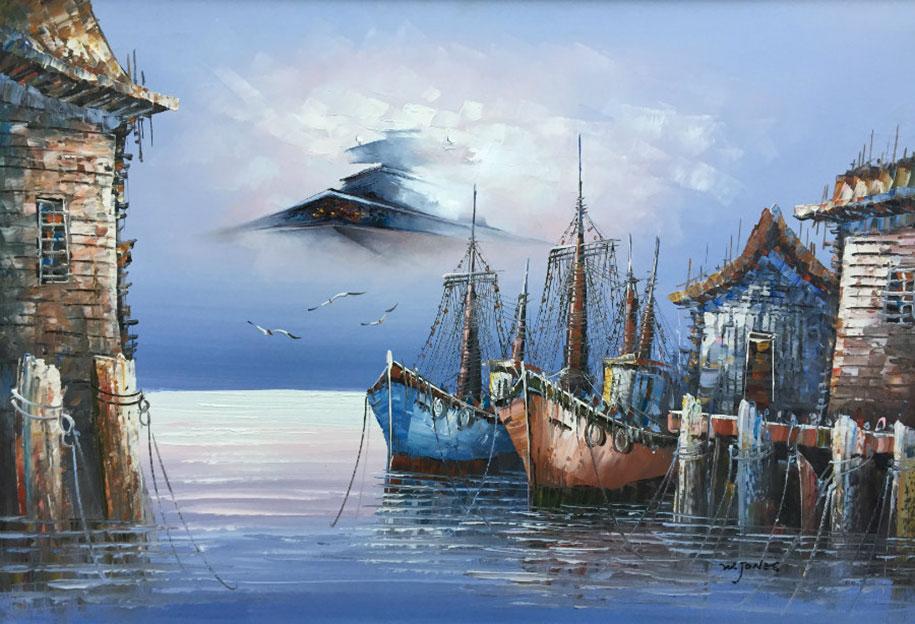 modern festmény, festmények, fali kép - csillagromboló