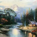 modern festmény, festmények, fali kép - repülő autó
