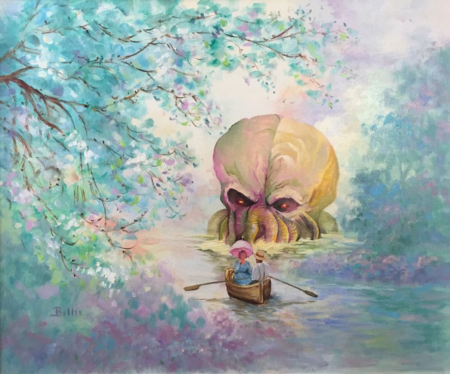 modern festmény, festmények, fali kép - tájkép nagy polippal