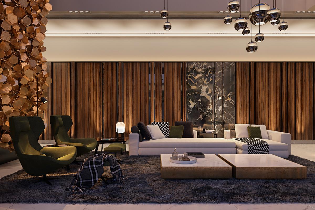 modern nappali és nappali bútor lakbernedezése - arany függőny