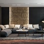 modern nappali és nappali bútor lakbernedezése - arany fal