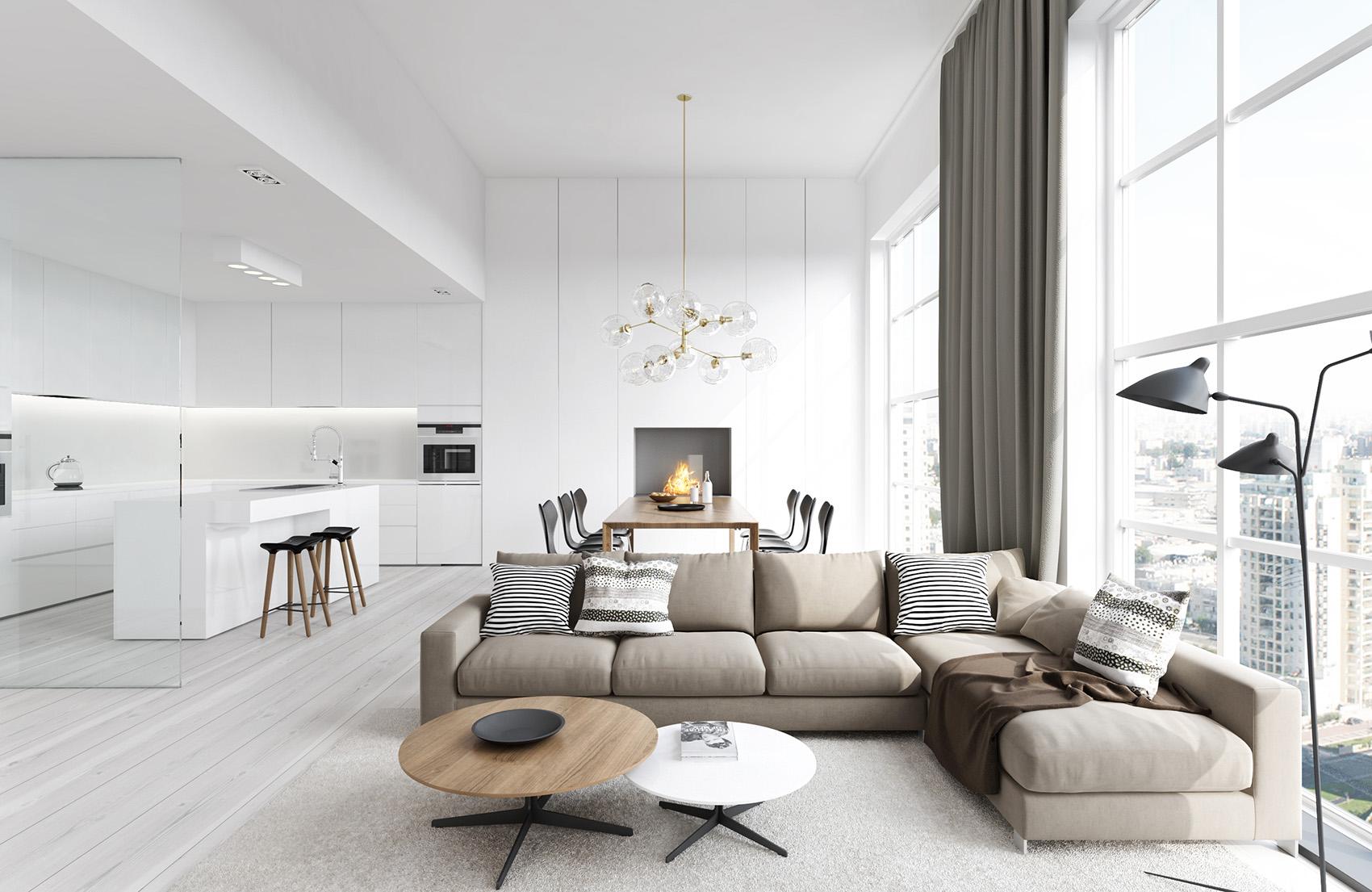 modern nappali és nappali bútorok letisztult és egyszerű, minimalista stílusban - fehér világos színben